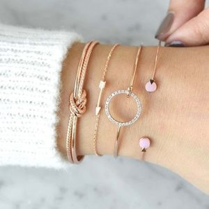 Bracelet Gold and Pink Set of Four